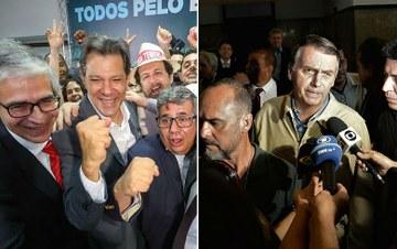 ELEIÇÃO PRESIDENCIAL: Pesquisa CUT/Vox Populi aponta Bolsonaro com 53% e Haddad com 47%